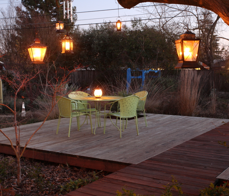 hanging lanterns over deck