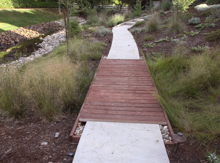 simple footbridge over meadow